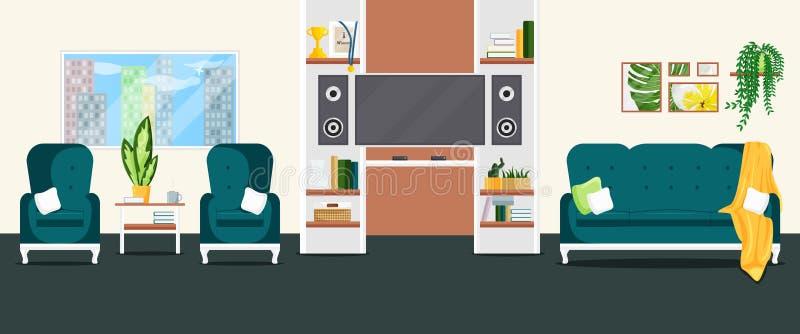 Vector Flat Illustration of Living Room Interior stock illustration