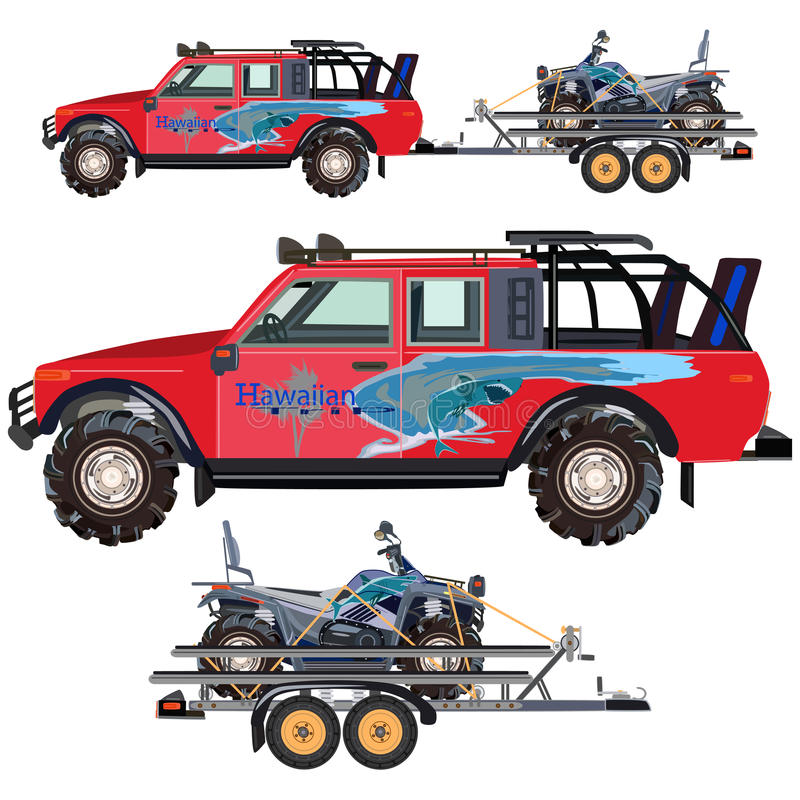 Free Vector Flat Illustration Of Quad Bike, Travel Car And Trailer Stock Photo - 91075390