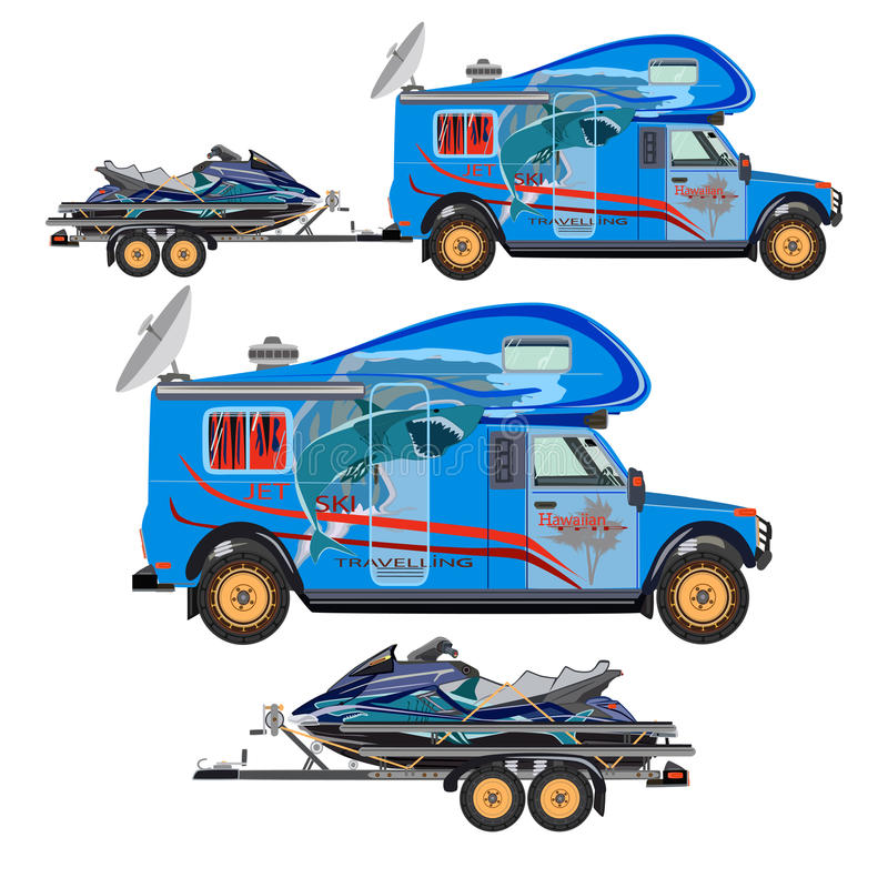 Free Vector Flat Illustration Of Water Scooter, Camper Car And Trailer Royalty Free Stock Photo - 91075395