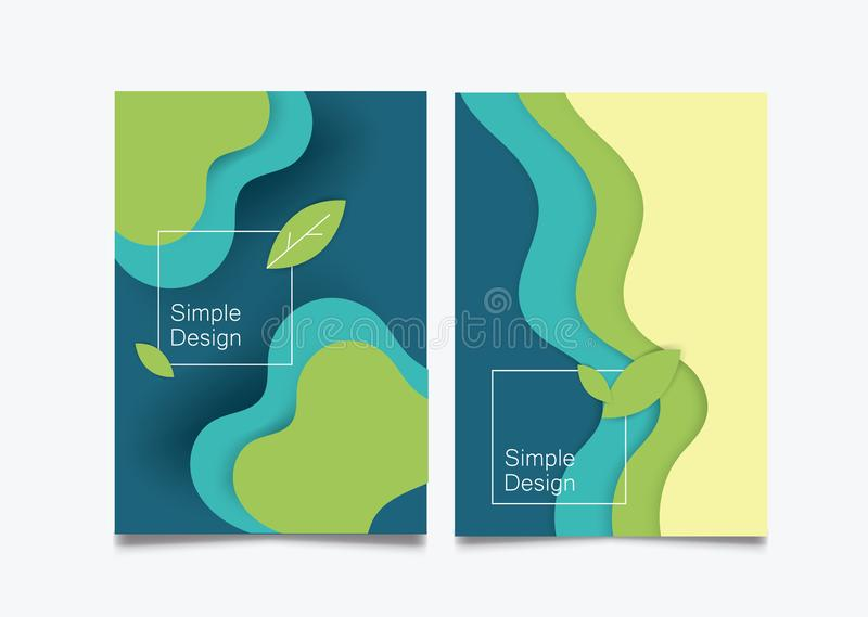 Paper cut craft background cover book green wave leave thin line flat. Vector flat illustration paper craft cut background cover book green wave leave thin line royalty free illustration
