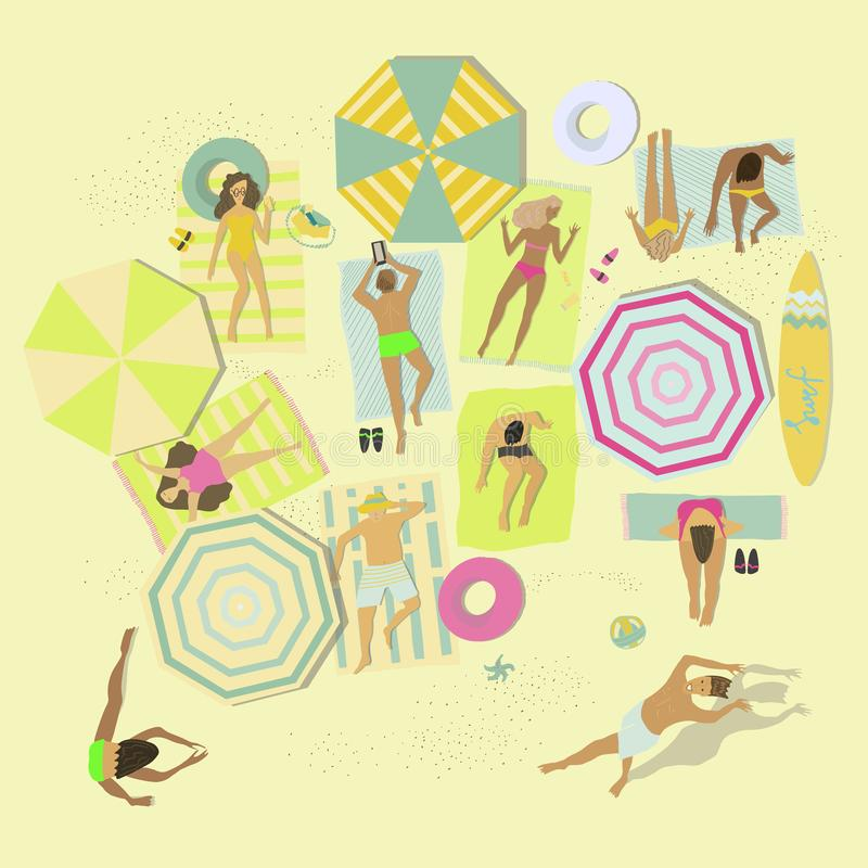 People lying on blankets or towels on beach sand. Men and women relaxing at summer resort. Vector flat illustration. stock illustration