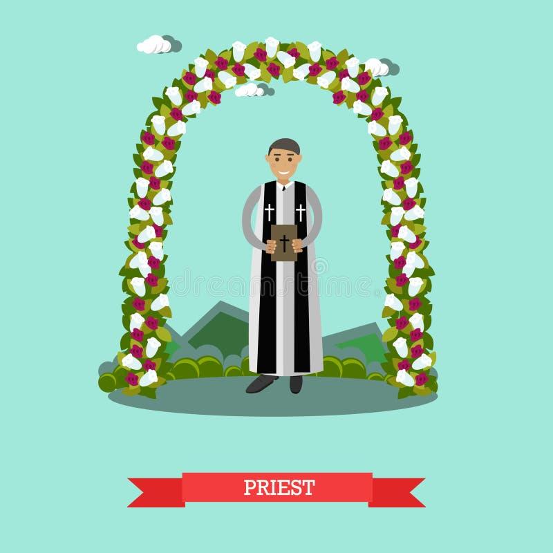 Vector flat illustration of priest under wedding arch vector illustration