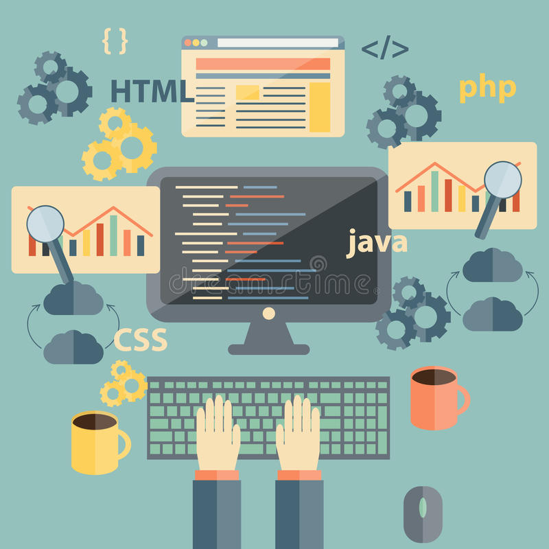 Vector flat illustration with programming objects vector illustration