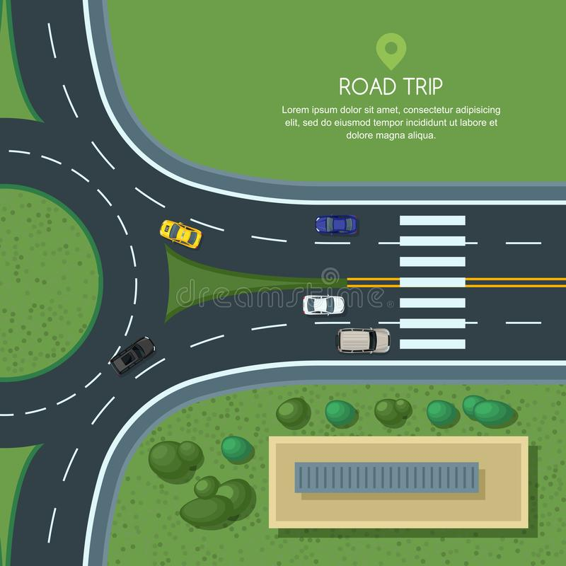 Vector flat illustration of roundabout road junction and city transport. City road, cars, crosswalk top view. royalty free illustration