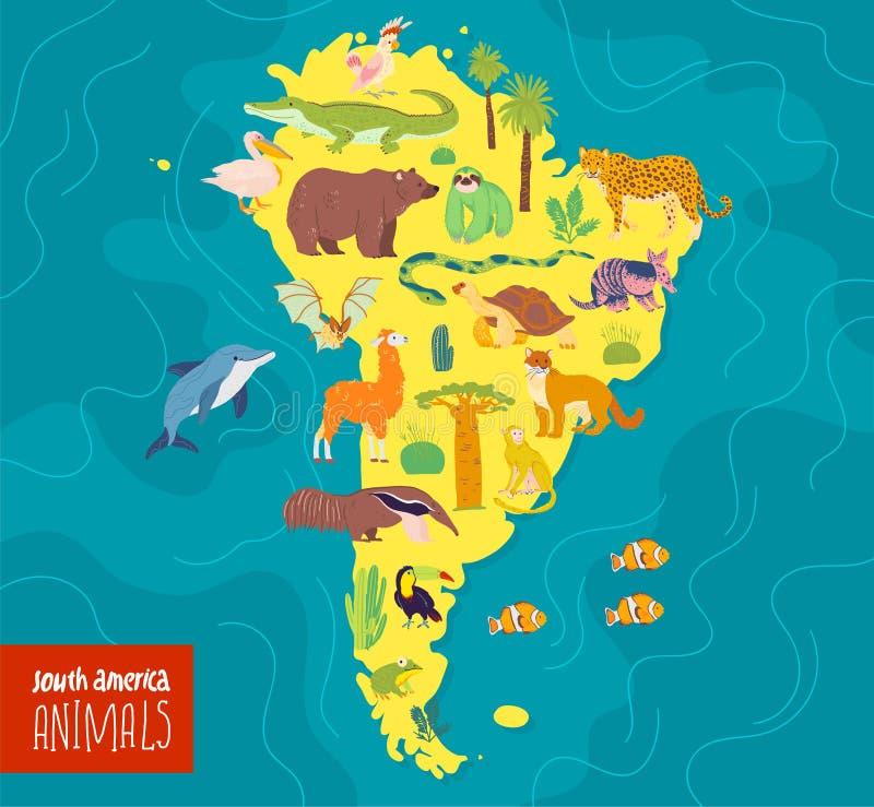 Vector flat illustration of South America continent, animals & plants: crocodile, bear, anaconda, anteater, monkey, toucan, fir tr. Ee, oak, cactus etc. Good for stock illustration