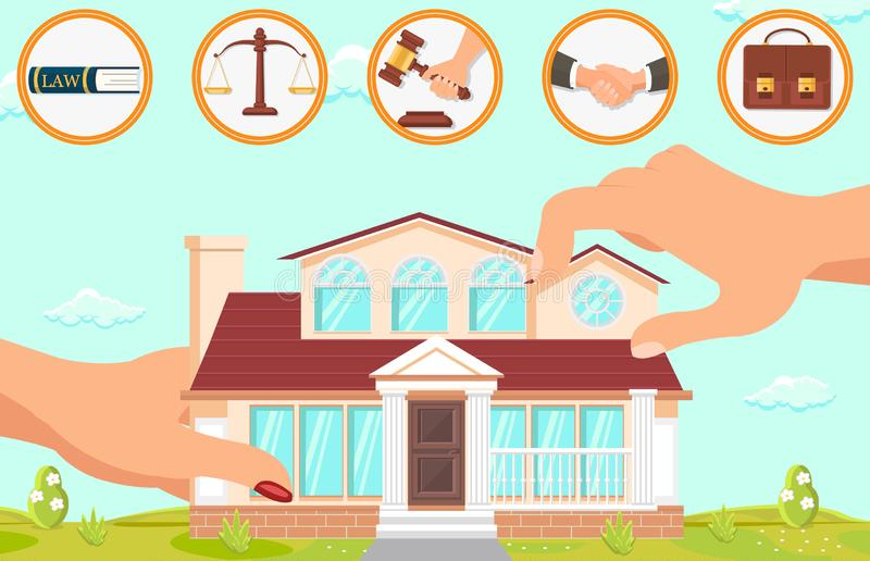 Vector Flat Illustration Structure in Law Firm. Large Female Hands Hold Building on Background Blue Sky and Green Grass. Lawyer Office Icons Law Scales Hand royalty free illustration