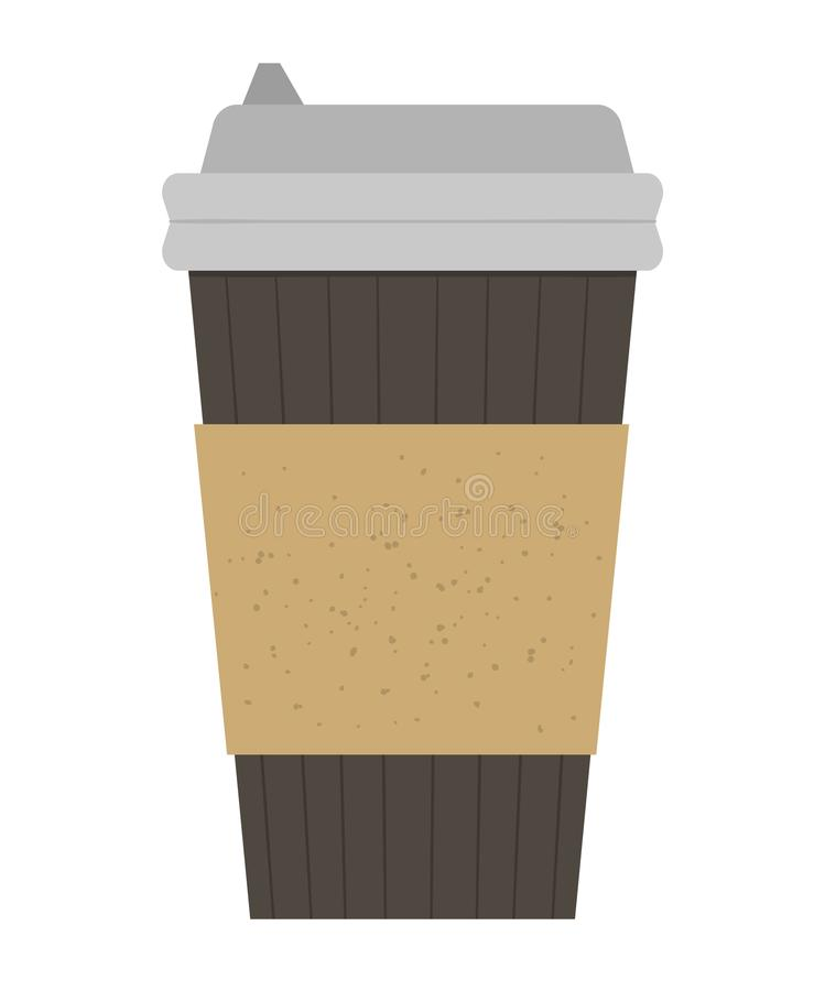 Vector flat illustration of take-away coffee cup. Fast food hot drink icon. vector illustration