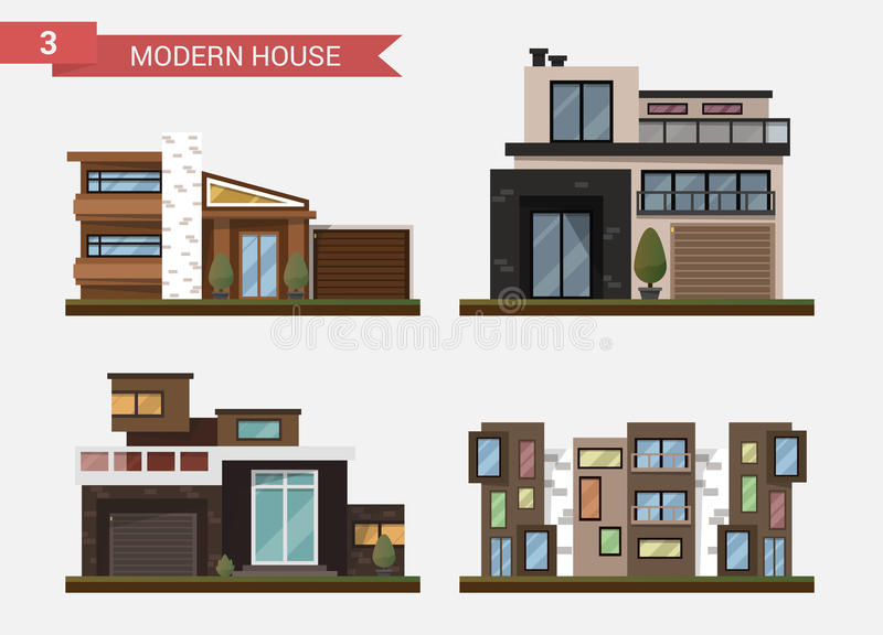 Vector flat illustration traditional and modern house. Family home. Office building. Private pavement, backyard with. Garage. Office architecture with beautiful royalty free illustration