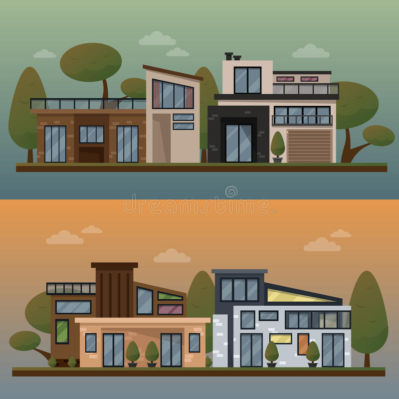Vector flat illustration of two family house and sweet home banners outdoor street, private pavement, backyard with vector illustration