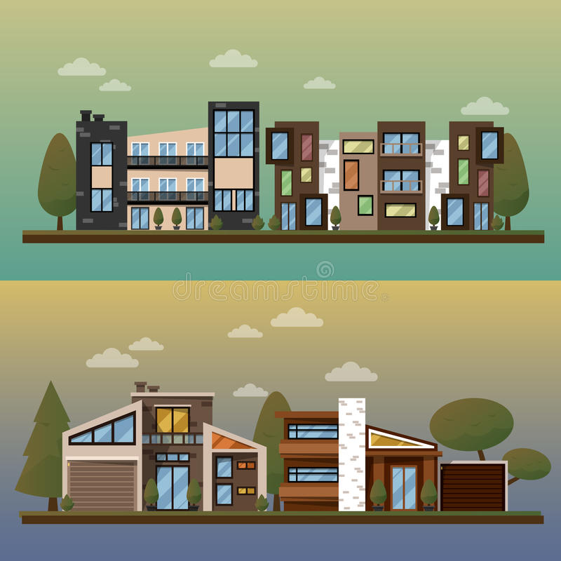 Vector flat illustration of two family house and sweet home banners outdoor street, private pavement, backyard with. Garage. Office architecture with beautiful vector illustration