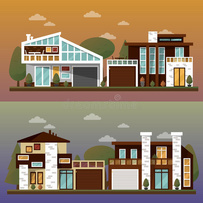 Vector flat illustration of two family house and sweet home banners outdoor street, private pavement, backyard with. Garage. Office architecture with beautiful stock illustration