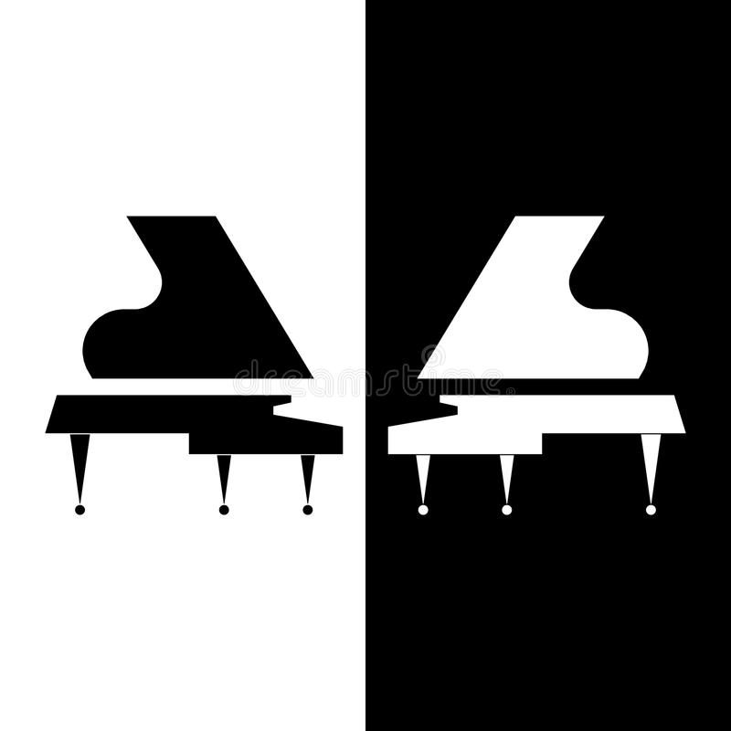 Stylized two Grand piano. Black and white composition. Vector flat design. royalty free illustration