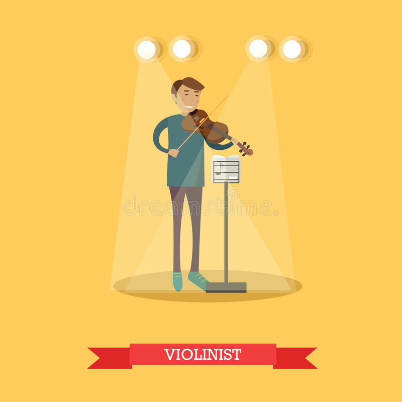Vector flat illustration of violinist performing classical music. Vector illustration of musician young man playing violin. Violinist performing classical music stock illustration