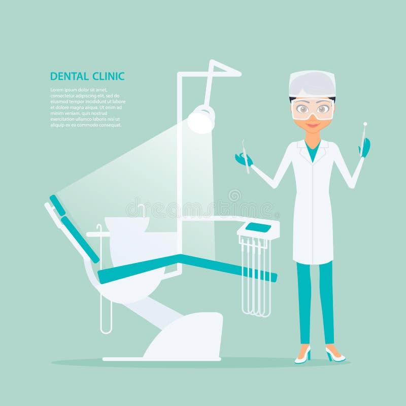 Vector flat illustration of woman dentist in medical uniform vector illustration