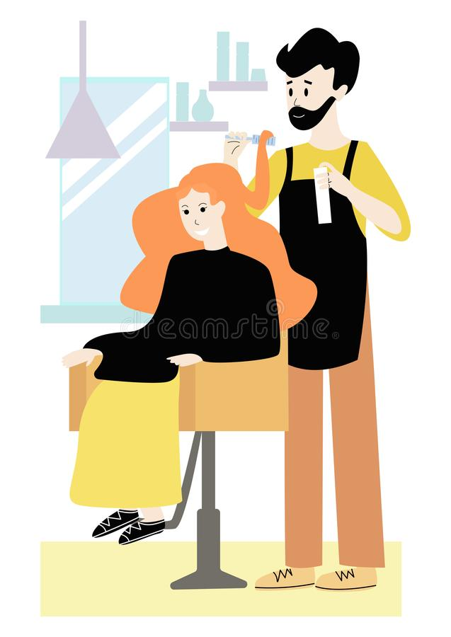 Vector flat illustration with woman and her hair stylist-hairdresser in beauty salon. royalty free illustration