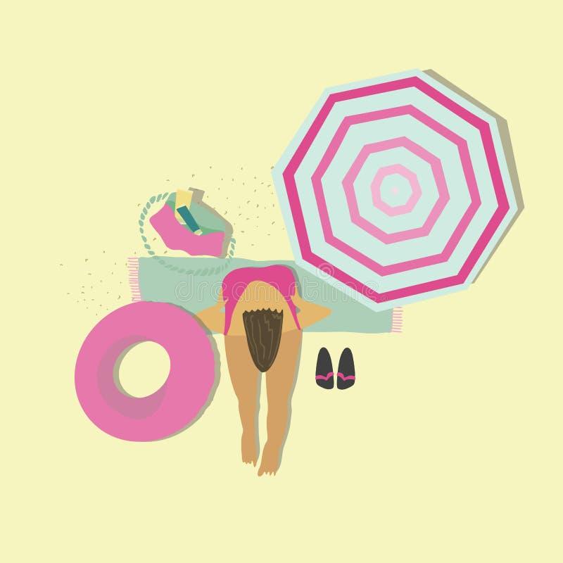 Women sitting on blanket at summer resort. Inflatable ring, umbrella, bag. Vector flat illustration. Vector flat illustration. Women sitting on blanket at vector illustration