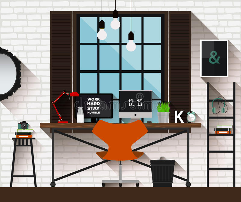 Vector flat illustration workplace in loft interior. Desk concept. Modern design of creative office workspace. Icon collection of royalty free illustration