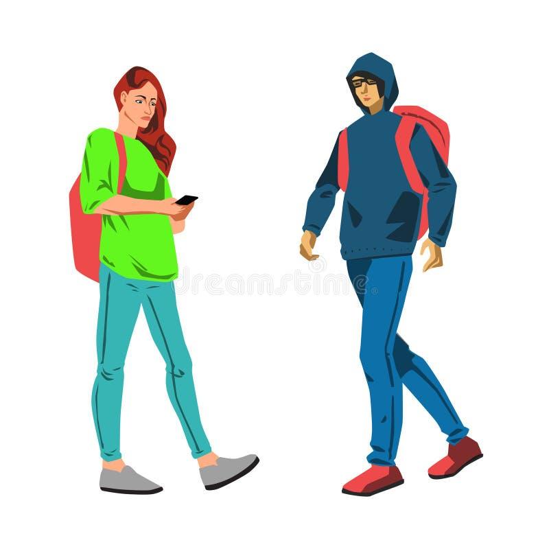Young students walking vector illustration. Vector flat illustration with young students woman and man walking set royalty free illustration