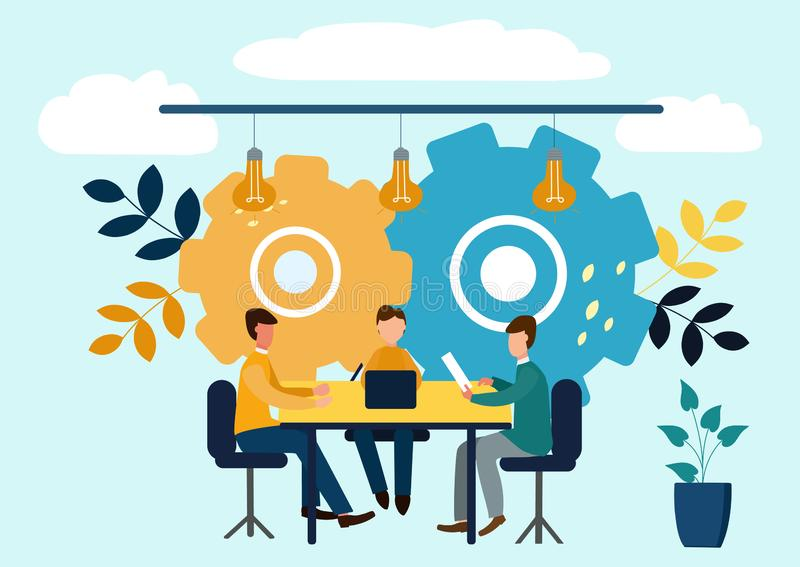 Vector flat illustrations, brainstorming, business concept for teamwork, search for new solutions, small people sit on light bulbs royalty free illustration