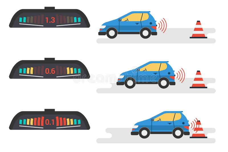 Car parktronic infographic - three positions vector illustration