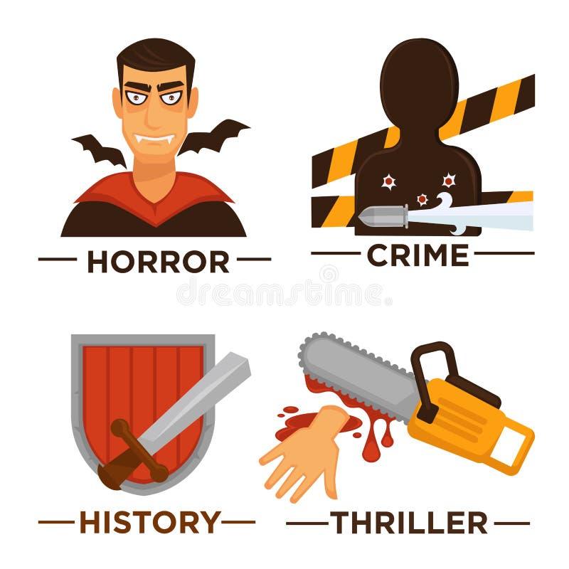 Movie genre icons. Vector flat isolated symbols set for cinema royalty free illustration