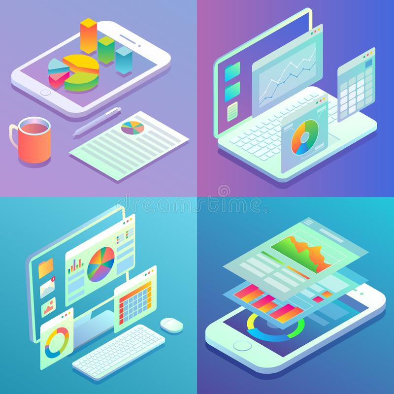 Mobile and web analytics concept vector flat isometric poster set vector illustration