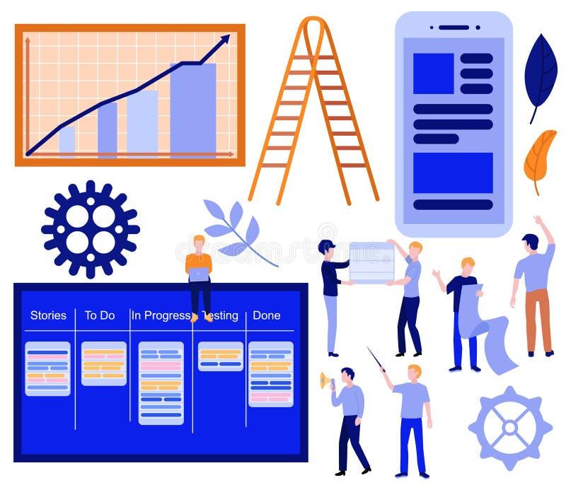 Vector flat kanban scrum agile concept set stock illustration