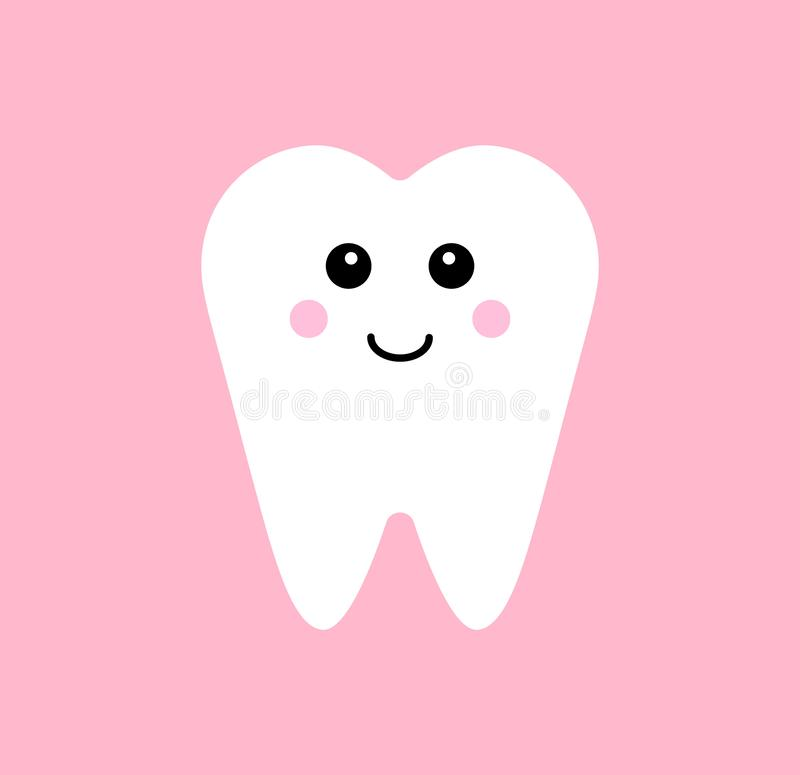 Vector flat kawaii tooth isolated on white vector illustration