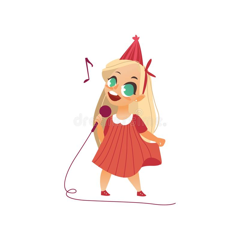 Vector flat kid girl singing at microphone. Vector flat cartoon girl kid singing at microphone standing alone in pink dress party hat. Little vocal star female royalty free illustration