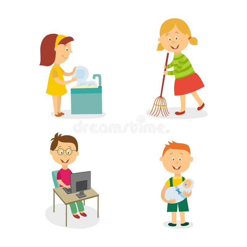 Vector flat kids doing household chores set. Vecotr flat kids doing household chores set. Girl washing dishes , another girl sweeping the floor by broom, boy stock illustration