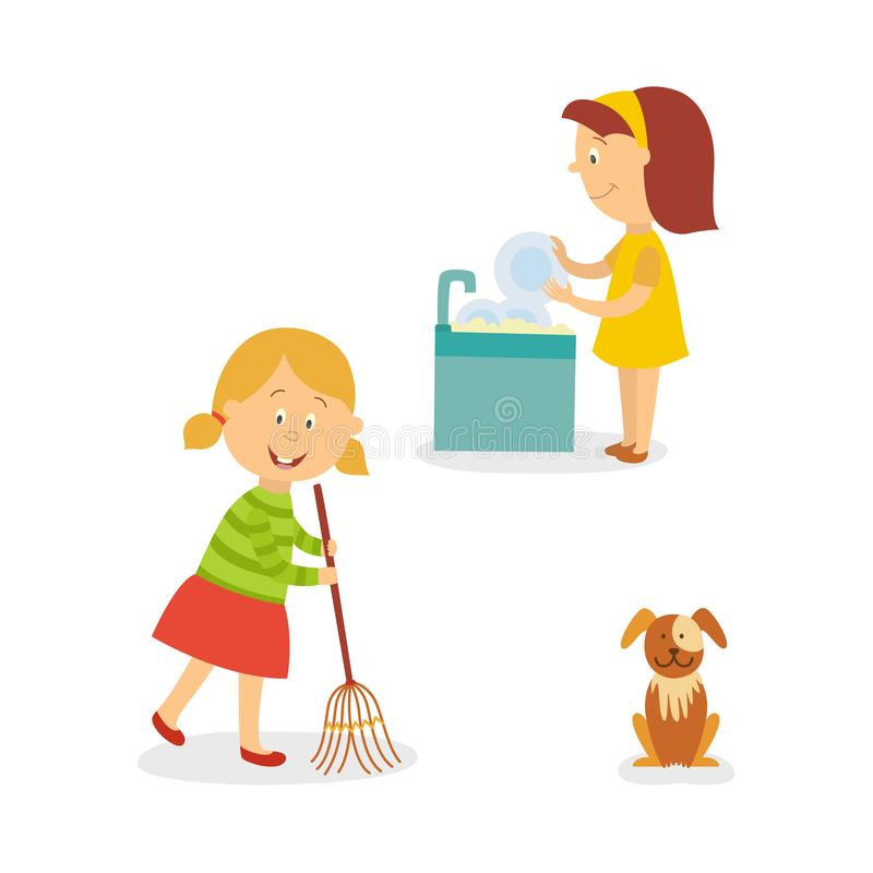 Vector flat kids doing household chores set. Vecotr flat kids doing household chores set. Girl washing dishes standing at sink, another girl cleaning, sweeping stock illustration