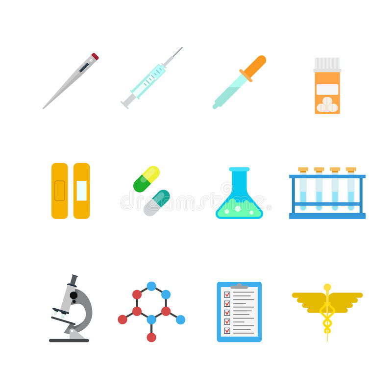 Vector flat lab web app icons: hospital chemical pharmaceutical. Flat style creative modern mobile chemical pharmaceutical web app concept icon set. Thermometer stock illustration