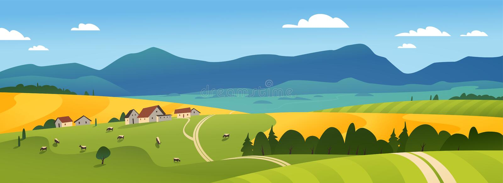 Vector flat landscape illustration of summer countryside nature view: sky, mountains, cozy village houses, cows, fields and meadow stock illustration