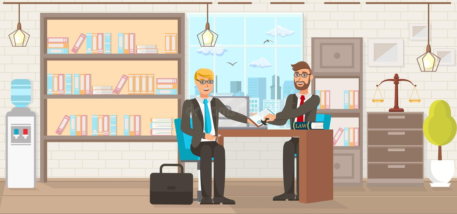Vector Flat Law Firm Consumer Protection Services. Lawyer Helps Client Fill Out Document Signing and Stamping Office. Study Room with Books Young Guy in Suit royalty free illustration