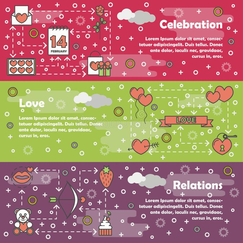 Vector flat line art love banner set. Vector set of horizontal banners with Celebration, Love and Relations line art flat style design elements, web templates stock illustration