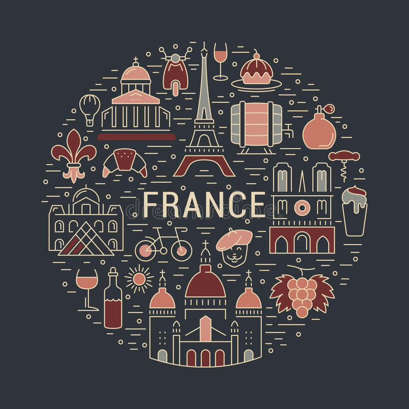 Vector Flat Line Banner Paris and France royalty free illustration