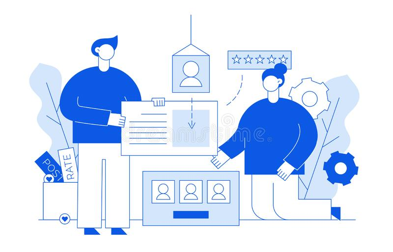 Vector flat line web development and marketing design concept of big modern people holding web site elements stock illustration