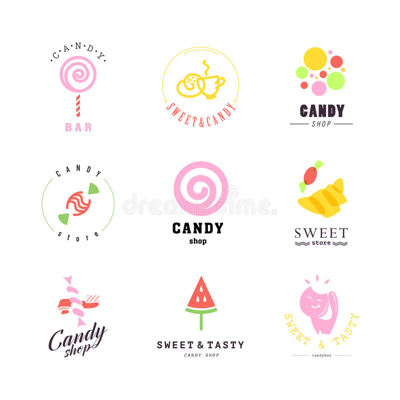 Vector flat logo collection for candy shop and sweet store. Candy bar brand mark design. Also good for children print template vector illustration