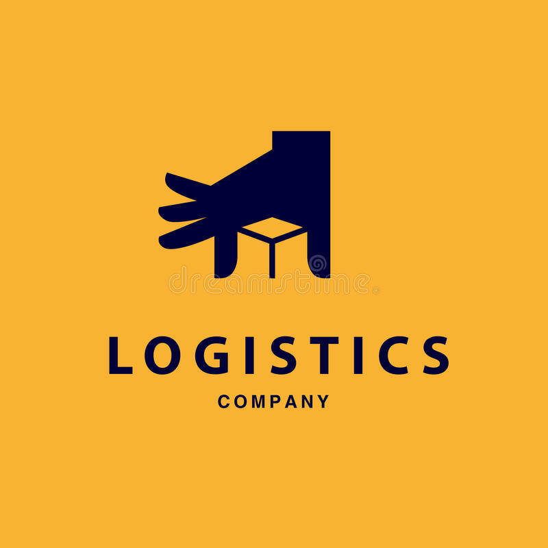 Vector flat logo template for logistics and delivery company. Shipping service insignia design stock illustration