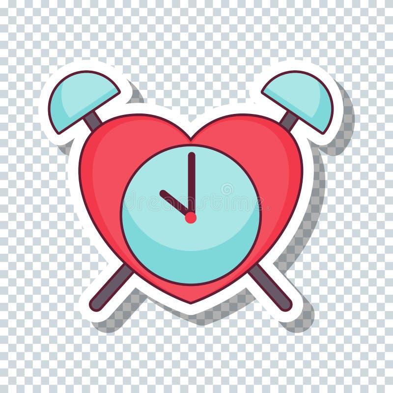 Vector flat love clock sticker for Valentine`s Day stock illustration