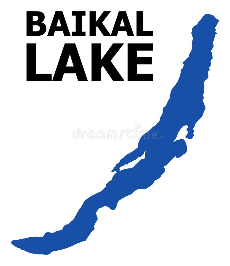 Vector Flat Map of Baikal with Name. Vector Map of Baikal with name. Map of Baikal is isolated on a white background. Simple flat geographic map stock illustration