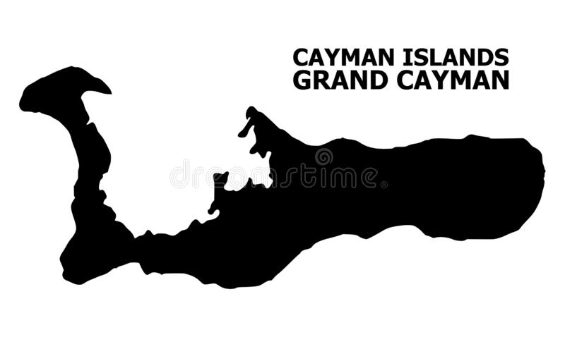 Vector Flat Map of Grand Cayman Island with Caption vector illustration