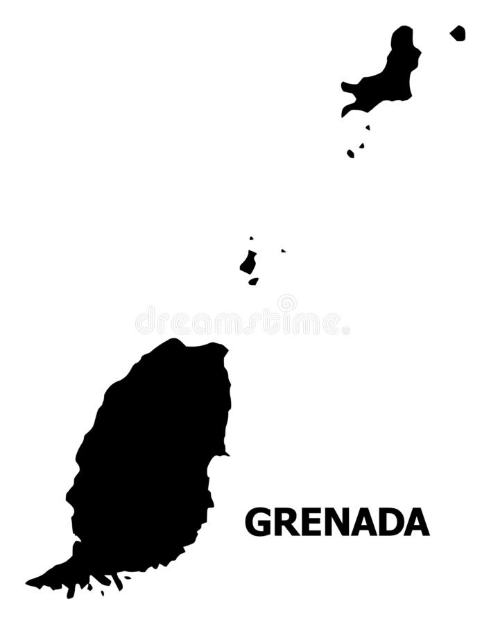 Vector Flat Map of Grenada Islands with Name stock illustration