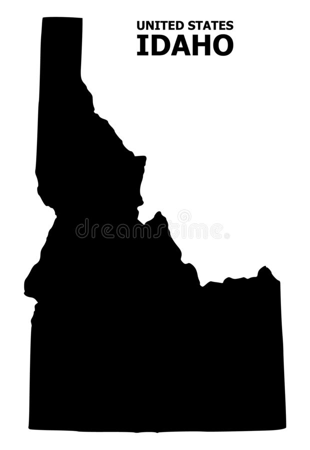 Vector Flat Map of Idaho State with Name. Vector Map of Idaho State with name. Map of Idaho State is isolated on a white background. Simple flat geographic map vector illustration