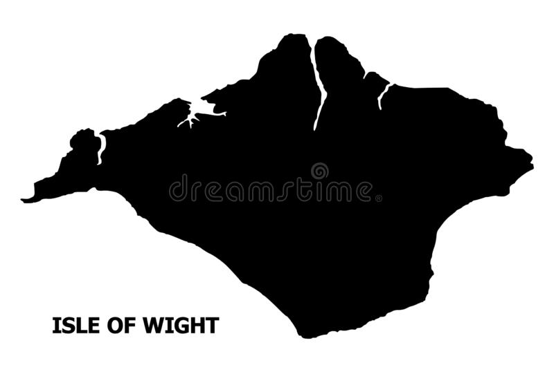 Vector Flat Map of Isle of Wight with Caption. Vector Map of Isle of Wight with name. Map of Isle of Wight is isolated on a white background. Simple flat vector illustration