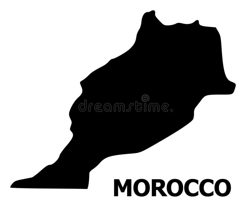 Vector Flat Map of Morocco with Name vector illustration