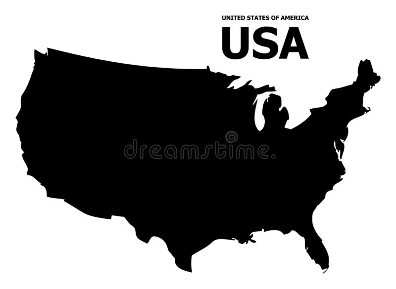 Vector Flat Map of USA with Caption. Vector Map of USA with caption. Map of USA is isolated on a white background. Simple flat geographic map vector illustration