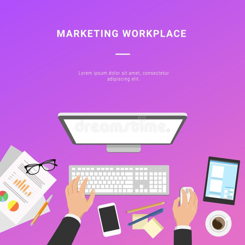 Vector flat marketing workplace from above with tablet, papers w. Ith statistics, smartphone and coffee stock illustration