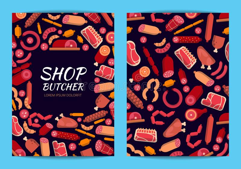 Vector flat meat and sausages icons card or flyer template illustration stock illustration