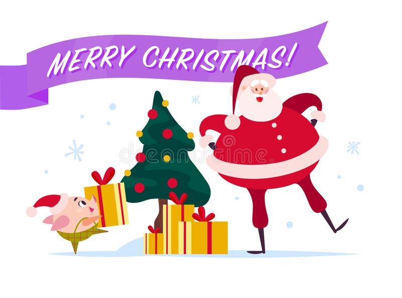 Vector flat Merry Christmas illustration with Santa Claus, cute pig elf at decorated New year fir tree carry gift box, xmas holida vector illustration